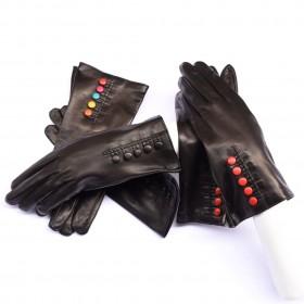 Kidskin leather gloves silk...